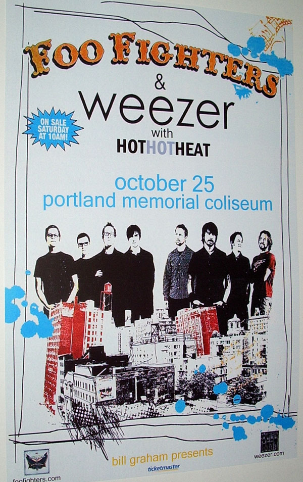 Foo Fighters Weezer Concert Poster
